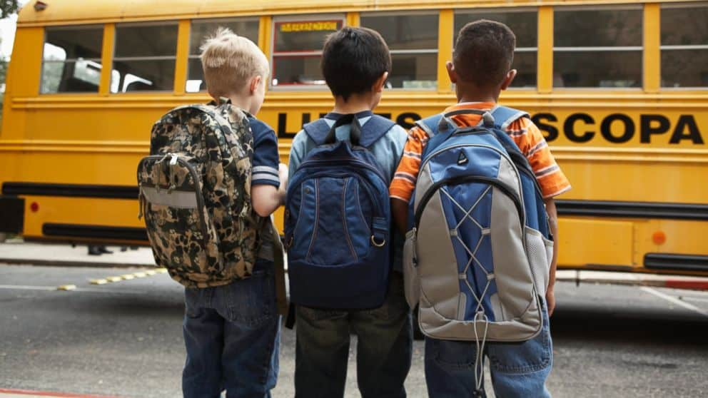 Kids Waiting on the Bus to Head to School